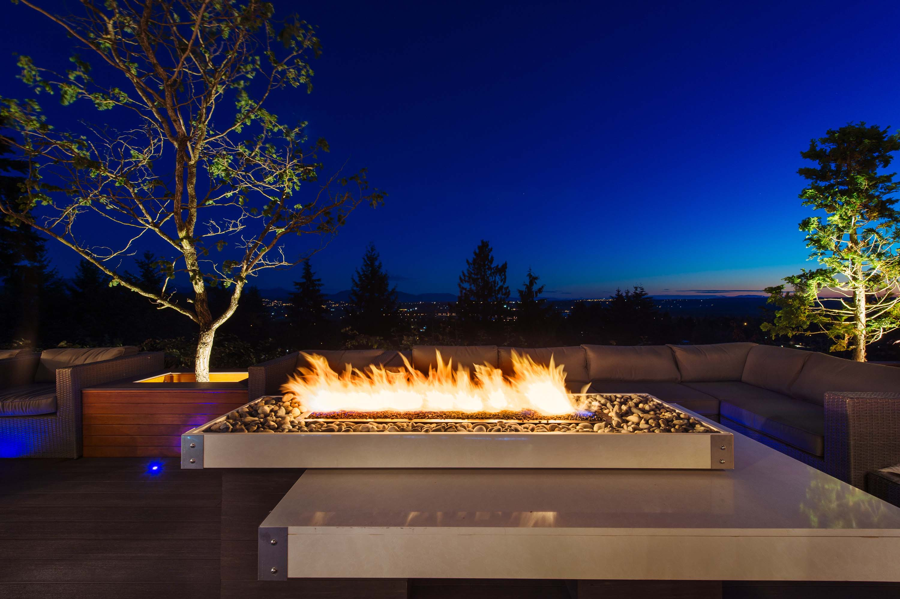 Exterior Fire Pit Details by GoldEdge Properties