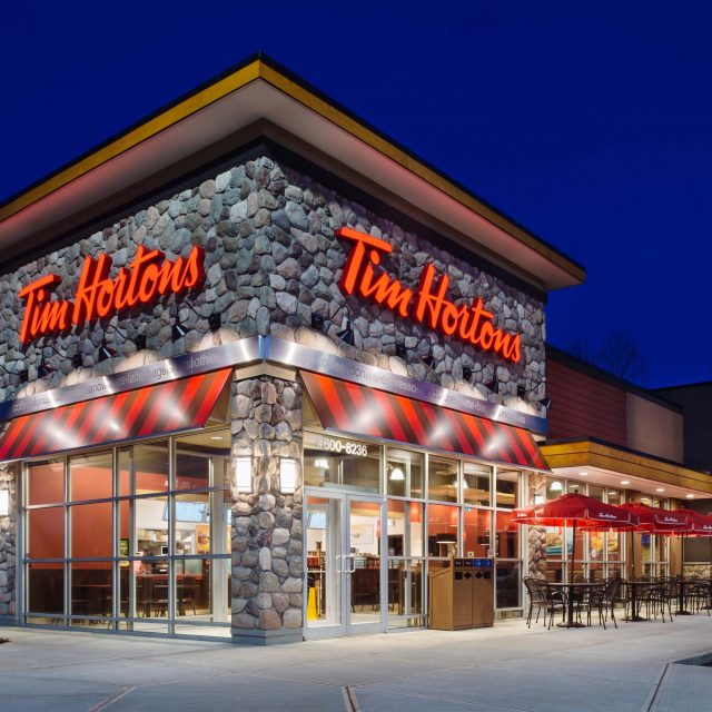 Tim Horton's Exterior at Night by Summit Brooke Construction