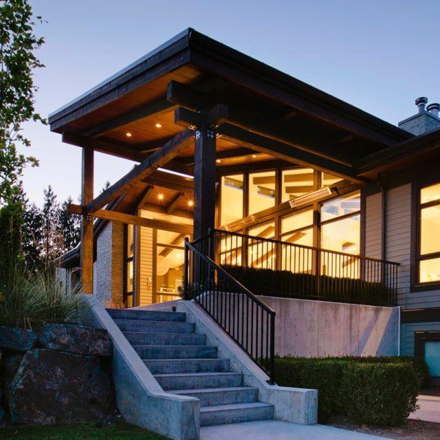 Modern Home Exterior at Dusk by Rockridge Developments
